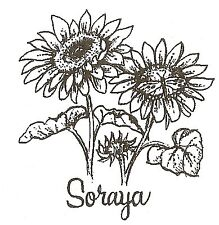 SUNFLOWER SORAYA Wood Mounted Rubber Stamp NORTHWOODS C10085 New