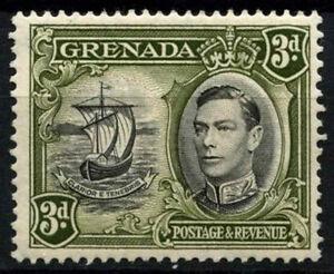 Grenada 1938-50 SG#158a 3d Black & Olive Green KGVI P13.5x12.5 MH #D52141