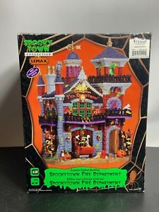 SpookyTown Fire Department Lighted Animated LEMAX Works Perfect FREE SHIPPING