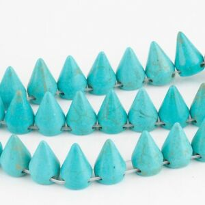 20pcs/Lot Blue turquoise Stone Cone spacer bead 15x10mm CB36