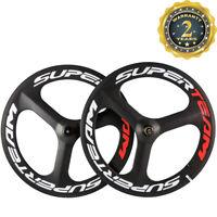 SUPERTEAM 3 Spoke Wheel 700C Clincher Carbon Wheelset 70mm Road Bike Wheels 3k