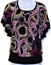 Heart Soul Blouse Women's Size M Multicolor Geometric Butterfly Sleeves Stretchy