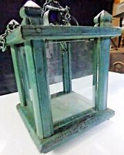 Antique roof hanging Lamp light Cabinet type wood structure Iron Chain Colored