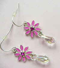 Flower Drop With Diamante Detail Accessorize Silver Earrings – Beautiful Pink