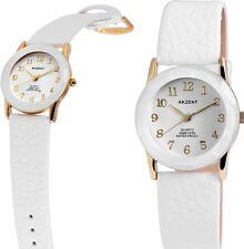 elegante Damen Armbanduhr Weiss/Gold Cutglas Kunstlederarmband von AKZENT