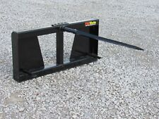 """48"""" Hay Bale Spear Fork Attachment Fits Skid Steer Tractor Quick Attach Loader"""