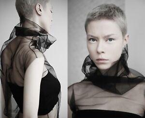 Black Tulle Top / Goth Mesh Turtleneck Sheer Shirt / Futuristic Transparent Top