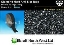 Diamond Hard Anti Slip Tape Self Adhesive Coarse Grit Black 75mm x 1m