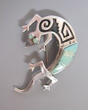 Navajo Turquoise/Sterling Pin and Pendant Gecko Design by Clyde Begay