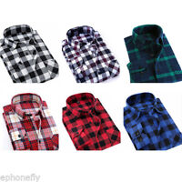US Mens Flannel Plaids Casual Shirts Cotton Slim Fit Long Sleeve Dress Shirt Top