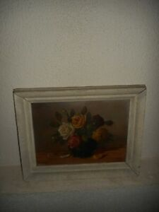 Very old oil painting,{  Beautiful roses, is signed and antique! }.