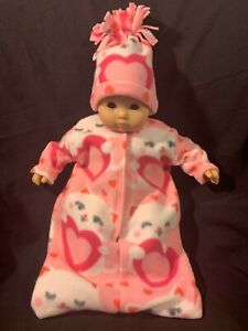 """Bitty Baby Doll Clothes Handmade for 15"""" Valentine Cat Heart Bunting &  Hat"""