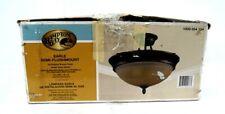 "Hampton Bay 15"" Oil-Rubbed Bronze Earle Semi-Flushmount Amber Glass Shade"