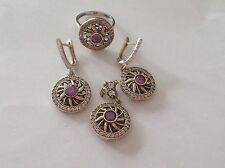 sterling silver 925 round design amythst Cubic Zirconia jewellery set