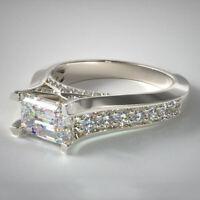 Fashion Women 925 Silver White Topaz Princess Cut Wedding Ring Jewelry Size5-10