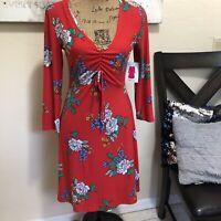 Women's Red Floral V-neck Skater Dress 3/4 Sleeve Large
