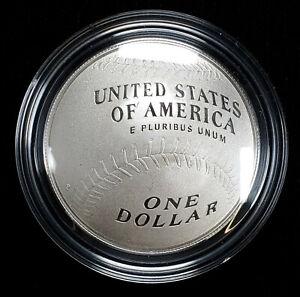 2014 P National Baseball Hall of Fame Silver Proof Dollar US Mint Box COA