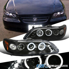For Honda 98-02 Accord 2/4Dr LED Halo Projector Headlights Driving Lamps Black