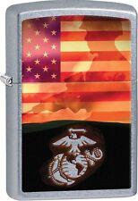 Zippo 2016 Catalog NEW USMC Marines Soldier American Flag Street Chrome 29123