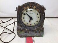 "Antique Lanshire "" TIME FOR LUCK "" Electric Mantel Clock Cast Metal Horseshoe"