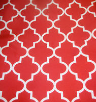 """Outdoor Waterproof Upholstery Moroccan White on Red Canvas fabric 60"""" Wide"""