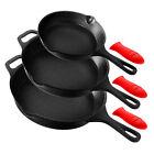 NutriChef Non Stick Seasoned Cast Iron Skillet Frying Pan, 3 Piece Set(Open Box)