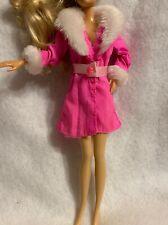 vintage 1998 Mattel Barbie Coat Collection Fashions Doll Pink Jacket Fur Caller