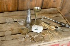 Lot of vintage Scrap: mixed metals antique glasses sterling and more