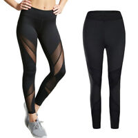 Ladies Sexy Mesh Stitching Tight Leggings Fitness Gym Running Sports Yoga Pants