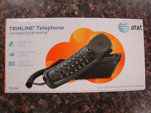 New Open Box AT&T TR1909 Trimline Corded Phone with Caller ID, Black