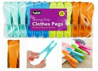 24 STRONG GRIP CLOTHES PEGS COLOURFUL WASHING LINE LAUNDRY AIRER PLASTIC PEGS