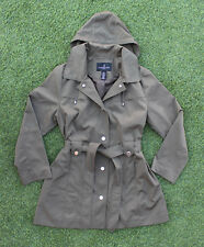 London Fog Women's Trench Coat Green Olive Removable Hood Stylish Size XL