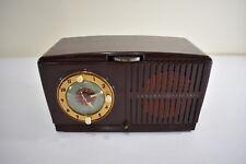Vintage MCM General Electric GE Model 64 Tube Radio Alarm Clock Brown Retro