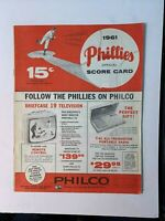 1961 Philadelphia Phillies vs Chicago Cubs Official Score Card GOOD