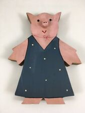 Vintage Pig Figurine Hand Painted Wooden Pig Cut Out Pig in Dress