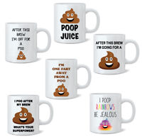 Poo Novelty Mug, Joke Tea Coffee 11oz White Mugs Funny Gift Office Farting Cup