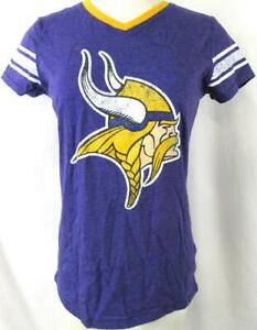 Minnesota Vikings Girls M L XL or 2XL Screened Glitter Logo T-shirt  AVIK 237