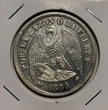 Chile Un Peso, 1883, UNC, BEAUTIFUL!