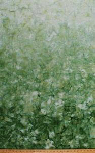Cotton Batik Green Ombre Gradations Hand Painted Cotton Fabric Print BTY D307.01
