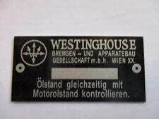 Typenschild id-plate Westinghouse Komressor Luftpresser Schild s23
