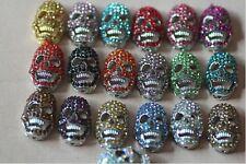 50pcs Mixed Skull Shamballa Beads Crystal Bracelet Connectot Beads