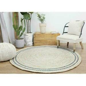 Round Rug Jute & Denim 3x3 Feet Floor Mats Living Room Reversible Area Rag Rug