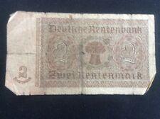 2 Mark Marks German Banknote 1937 Berlin Germany WW2 Deutsche Rentenbank