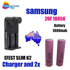 2x Samsung 18650 26F 2600mAh Lithium Rechargeable Battery E-Cig + 2 slot charger