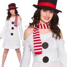 Femmes Costume de Bonhomme Neige Doux Noël Adultes Déguisement Taille Unique