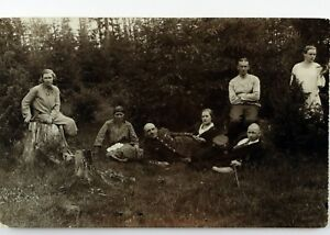 Day Out with Family Soldier Vintage Real Picture Postcard 1930's