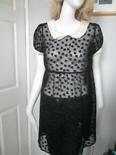 MISS SELFRIDGE - BLACK SHEER.DISTRESSED ,C-NECK, MINI DRESS SIZE 10,