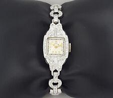 Vintage Lady Elgin 1.5 ct Diamond Platinum & 14K White Gold Watch