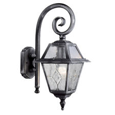 Pair Searchlight 1515 Genoa Black/silver Lead Glass Outdoor Wall Light Ip23
