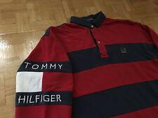 VTG 90s Tommy Hilfiger Box Logo Shirt Rugby HIP HOP Sport USA S Jacket Hat OG